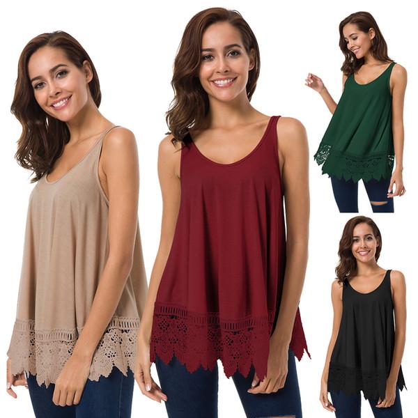 High quality Women's Plus Size sleeveless Loose T-shirt Vest Women's Hot O-neck cotton Lace casual T-shirt vest S M L XL 4colors
