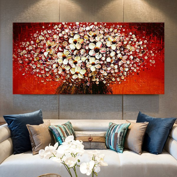2019 Flowers Painting On Canvas Quadros Cuadros Decoracion Wall Art Pictures For Living Room Palette Knife 3d Texture Acrylic Florals From Qushimei88