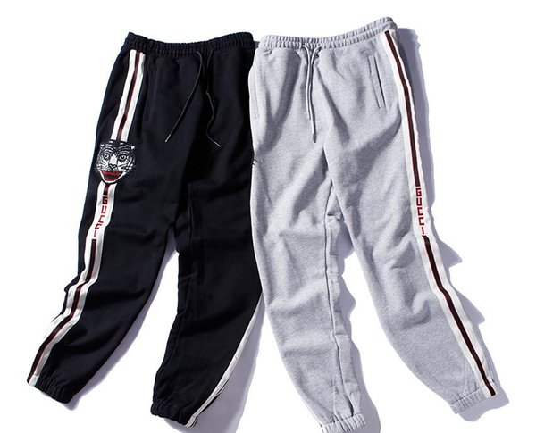 Direct sales 2018 new classic tiger head embroidery stitching quality casual sweatpants free shipping