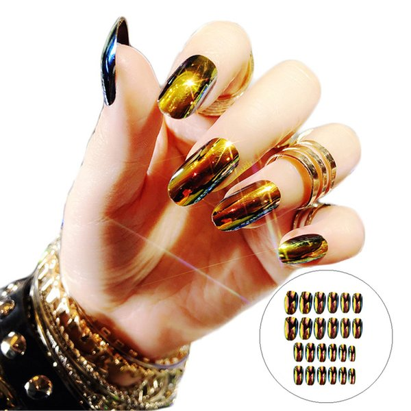 24pc Magic Light Changed False Nails Middle Long Round Head Mirror Reflective Bling Artificial Fake Nail with Glue Nail Art Tips
