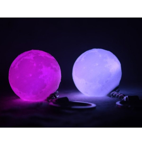 RGB 4cm Mini Moon Nightlights Mini 3D Print Moon Light Creative Keychain Battery Powered Lamp Good Gift For Xmas