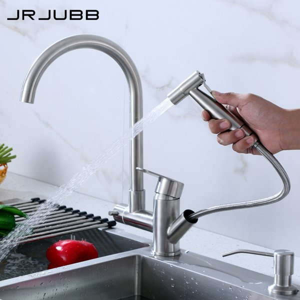 304 Stainless Steel Pull Out Kitchen Faucet With Spray Gun Double Handles Kitchen Mixer Lead-free Sink Tap