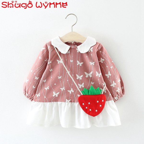 Cotton Autumn Baby Girls Long Sleeve O Neck Butterfly Print Princess Party Kids Infant Tutu Dress + Strawberry Bag