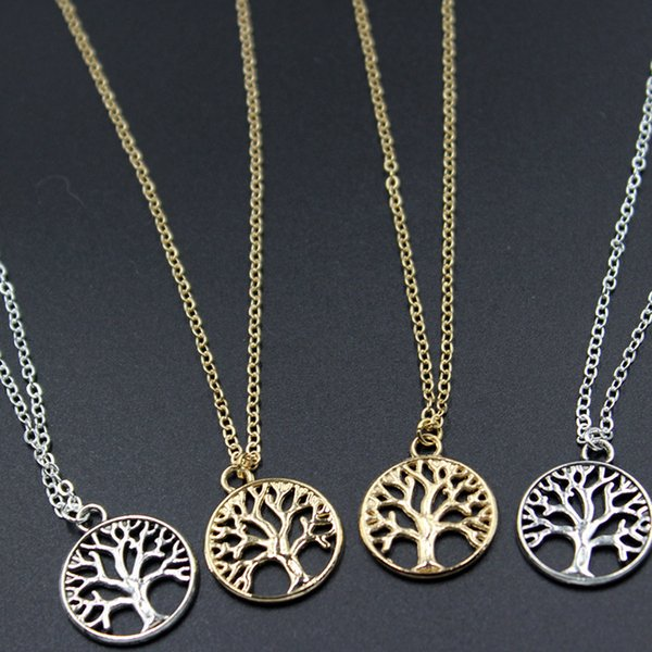 Vintage Tree of Life Pendant Necklaces Antique Silver & Gold Plated Charm Necklace Peace Trees Sweater Chain Fine Jewelry Xmas Gift