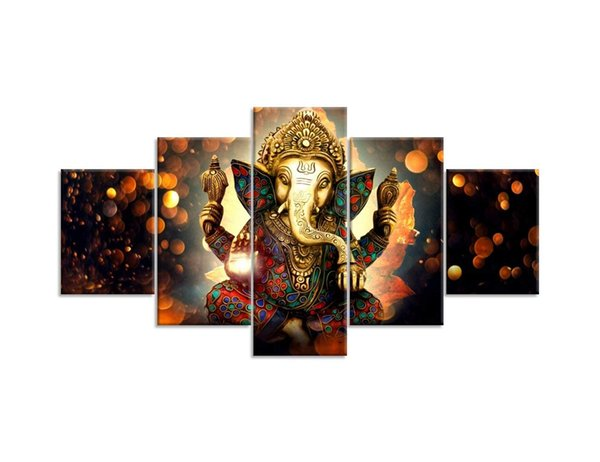 Wall Art for Living Room 5 Piece Ganesha Hindu God Canvas Pictures Artwork Home Decor Modern Posters and Prints Ready to Hang