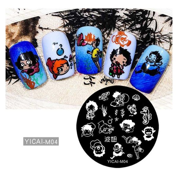 Round Nail Stamping Plate Cartoon Girl Animals DIY 5.5cm Template Manicure Nail Art Image Plate