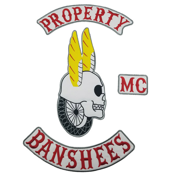 Super Cool ROPERTY BANSHEES Motorcycle club Patch Iron on MC Embroidered Full Back For Rocker Biker Vest Patches for clothing Free Shipping