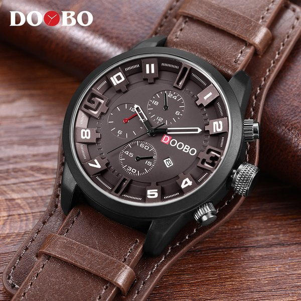 DOOBO Men's Casual Sport Quartz Watch Mens Watches Top Brand Luxury Quartz-Watch Leather Military Watch Wrist Male Clock Drop Y1892107