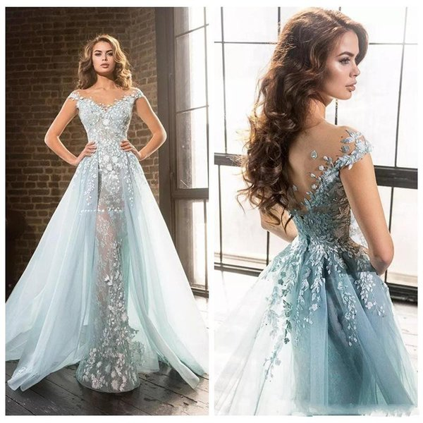 2019 Beautiful Ice Blue Elie Saab Overskirts Prom Dresses Arabic Mermaid Sheer Jewel Lace Applique Beads Tulle Formal Evening Party Gowns