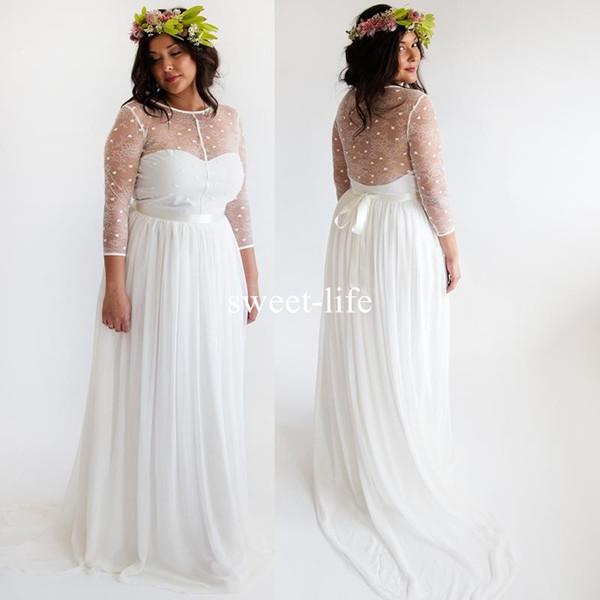 Discount 2018 Bohemia Long Sleeve Wedding Dresses For Cheap Illusion ...