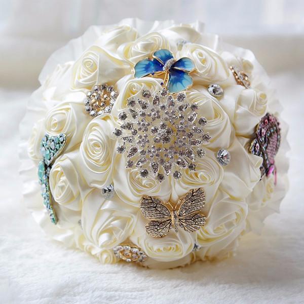 Mazzi di nozze di cristallo di alta qualità per le spose Gioielli di strass Rose di seta Fiori di nozze fatti a mano Spilla Bouquet da sposa