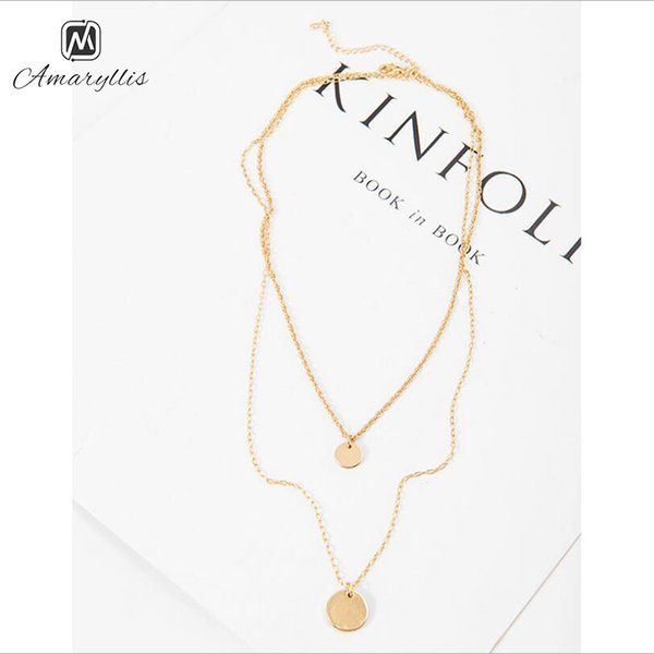 Amaiyllis Simple Gold Color Double Round Disc Coin Dangle Pendant Choker Necklace For Women New Layer Rows Clavicle Chain Collar