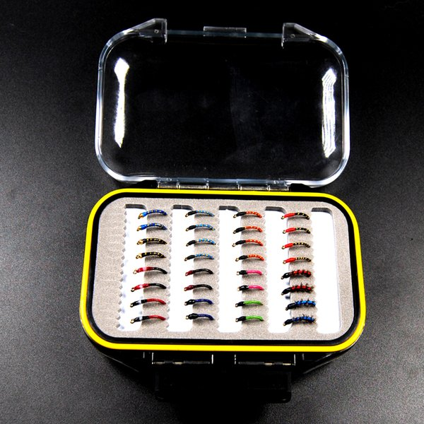 32Pcs/Set Assorted Nymph Fishing Fly Combo Trout Bass Blue Gill Panfish Artificial Lures With Free Double Faced Waterproof Tac