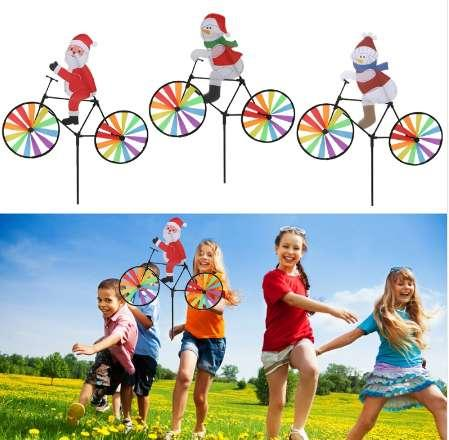 3D Large Santa Claus On Bike Windmill Wind Spinner Whirligig Yard Garden Decor