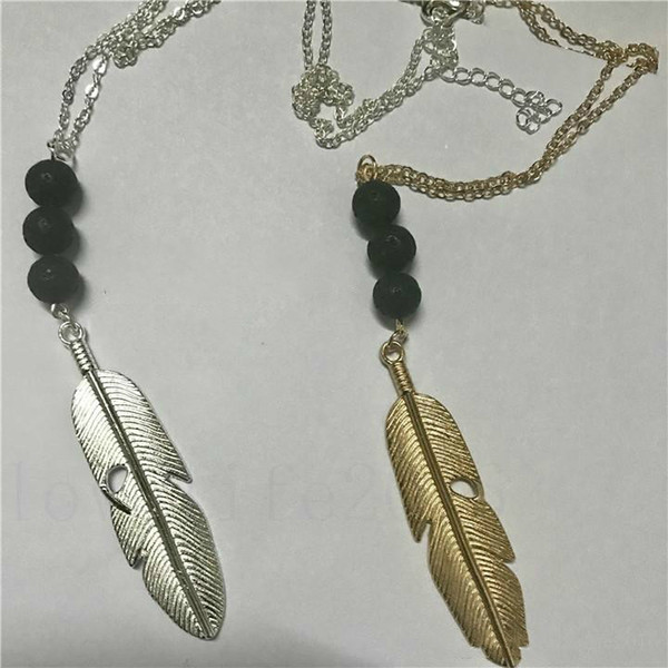 Vintage Lava-rock Bead Feather / Hojas Borla Collar Largo Aromaterapia Aceite Esencial Difusor Collares Mujeres Negro Lava Joyería Colgante
