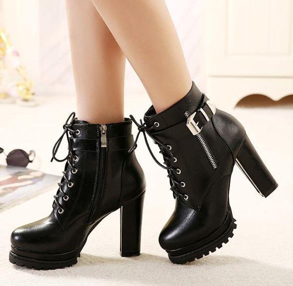 Hebilla de moda con cordones hasta plataforma botines de tacón alto diseñador mujer botas Bottes femmes tamaño 34 a 39