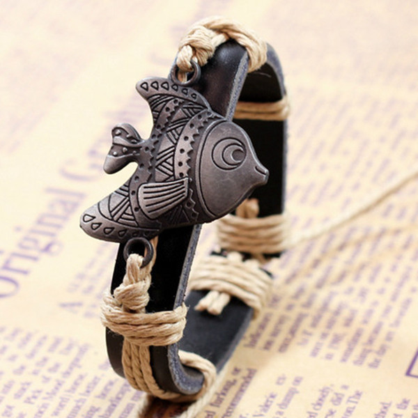 FUNIQUE Vintage Goldfish Braided Bracelet Ocean Style Alloy Leather Woven Bracelet Fashion Personalized Accessories High Quality
