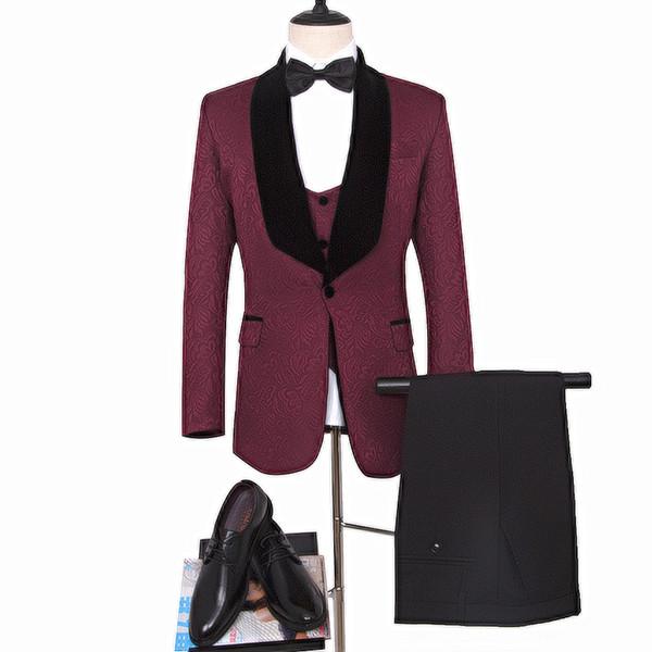 Dark Red Groom Tuxedos for Man clothes Dark Red man blazer as Wedding Suit Printed Groomsman Suit Custom Made Man Suit (Jacket+pants+vest)