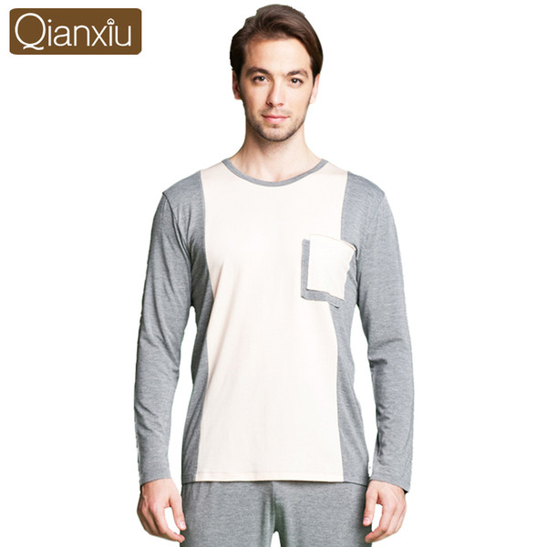 Qianxiu Pijama Para Homens Modal Patchwork Pijama Set Longo-luva Lounge Desgaste Homewear Ocasional