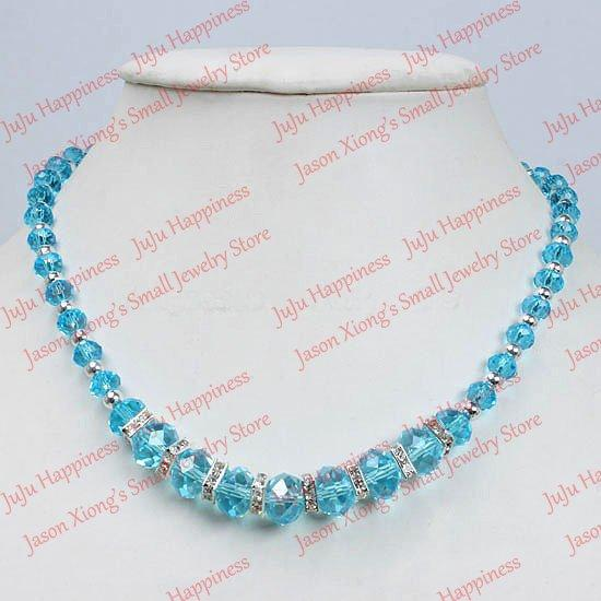 whole saleFashion Blue AB Loose Crystal Glass Faceted Beads Necklace With Magnetic Clasp one piece 45cm