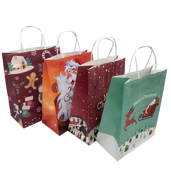 10Pcs Big Size Christmas Bag 26*12*33cm Paper Gift Bag with Handles Christmas Party Supplies Paper