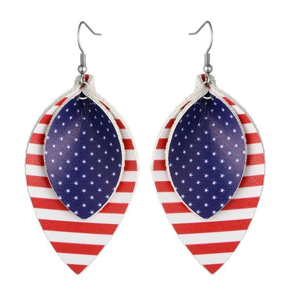 Nova Bandeira Americana Brincos De Couro Moda Jóias Stripe PU Leather Teardrop Declaração Brincos Dia Da Independência Das Mulheres Dos Homens