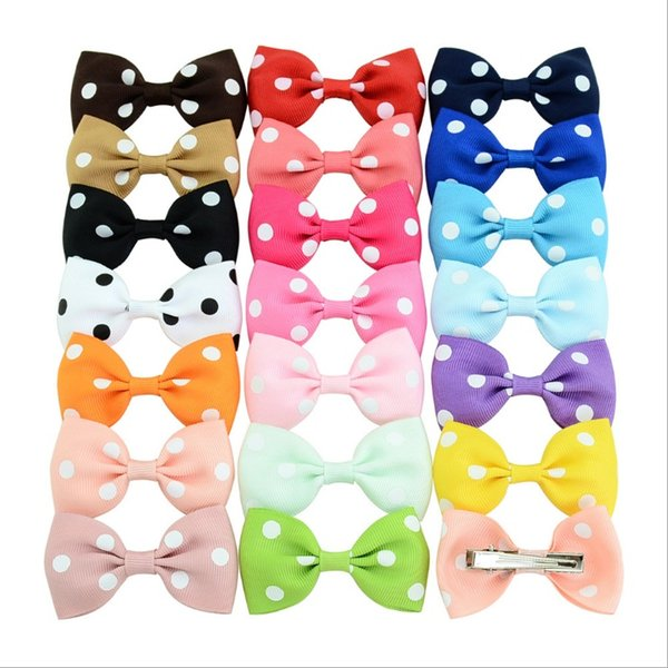 Polka dot polyester 20 colors children's bow cute hair clip Europe and America baby hair accessories girl baby hairpin headband HKU65