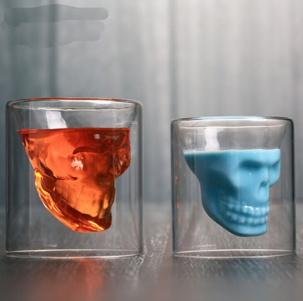Skull wine glass cup crystal beer mug personality bar creative double transparent glass Drinkware Wine Glasses