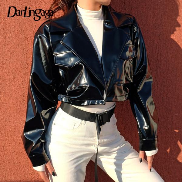 Darlingaga Street Style PU Lederjacke weibliche Punk kurze Jacken Mantel schwarz Damen Winterjacke 2018 Outwear Veste Femme