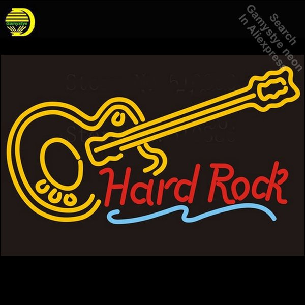 Custom Signage NEON SIGNS For Hard Rock Guitar Music GLASS Tube BAR PUB Signboard Display Decorate Store Shop Light Dropshipping