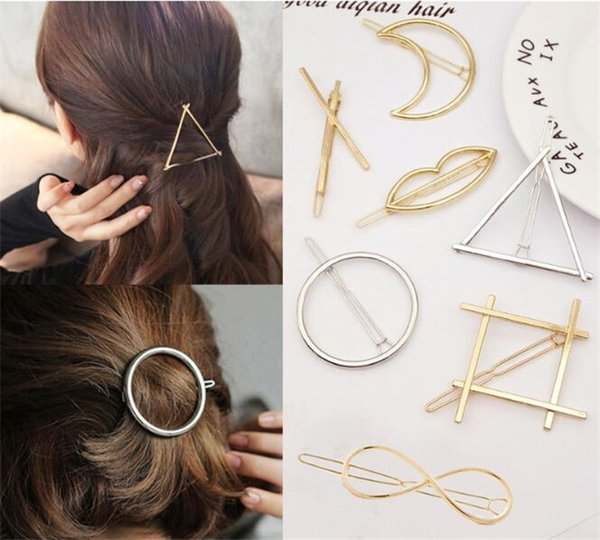 top popular 200pcs Vintage Circle Lip Moon Triangle Hair Pin Clip Hairpin Pretty Womens Girls Metal Jewelry Accessories R229 2019