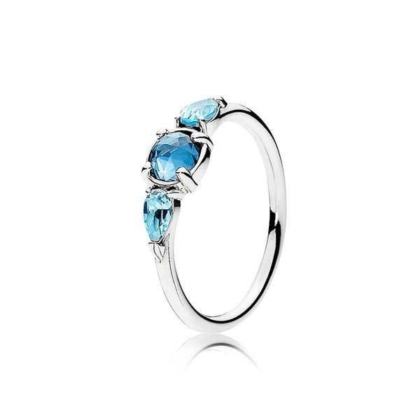Three Blue Crystal Stone Rings 100% 925 Sterling Silver Original Box for Pandora style Ring Women Wedding Gift Jewelry Ring