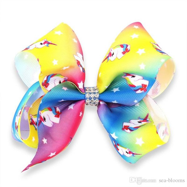 Unicorn Bows Clips for Little Girls Cute Rainbow Hair Accessories with Alligator Clip Barretes for Kids Daily Wearing Party Decoration H964R