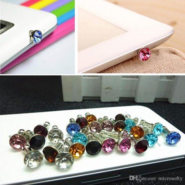 Universal 3.5mm Crystal Diamond Anti Dust Plug Dustproof Earphone Jack For Iphone 5 6s 6s plus Smartphone