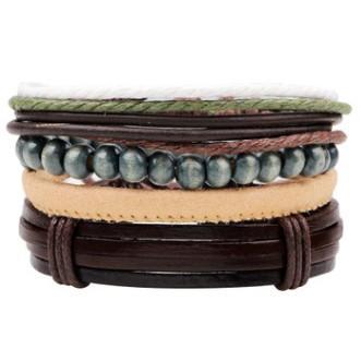 4in1 Set BRACELET Exquisite vintage Bangle Cowhide bracelet beaded woven bracelet Luxury wooden beads quaint jewelry hand ornaments