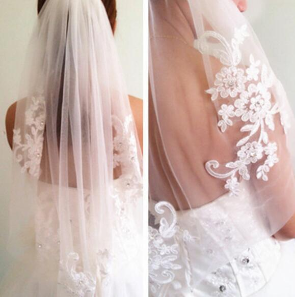 Princess Wedding Veils Cheap Long Lace Bridal Veils One Layer Lace Applique Edge Bride Veil Free Shipping