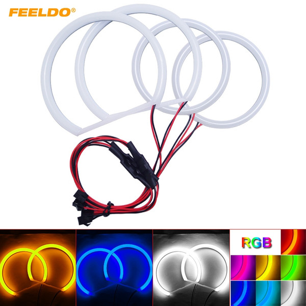 FEELDO Car Xenon Cotton Angel Eyes Halo Ring Light For Ford Focus 08+ Headlight DRL Light #3600