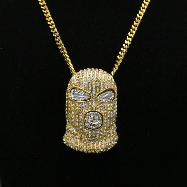 Men Gold Silver Plated Hip Hop Iced Out Bling Masked Man Figure Pendant Necklace with 70cm Cuban Link Chain Mens Jewelry