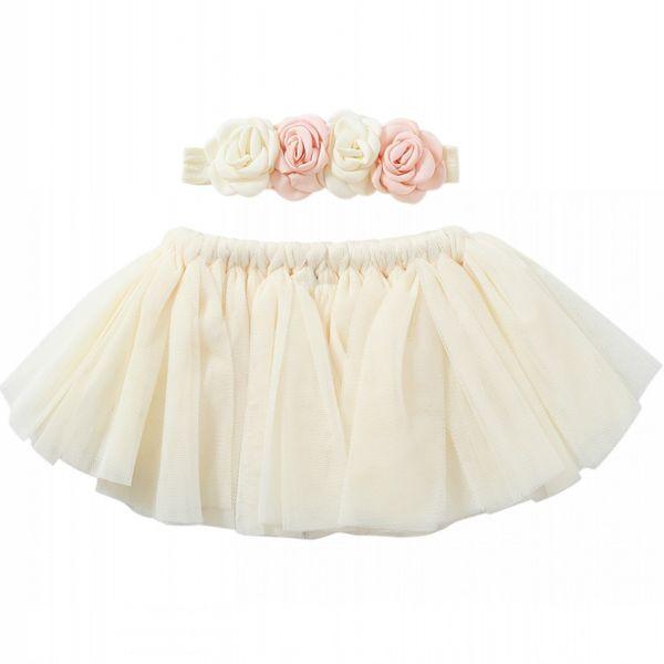Gonna tutu neonato avorio stile nuovo Tutu neonato con fascia abbinata a fiori