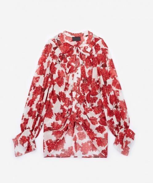 2018 France Hortensia Ruffle Floral Print Long Sleeves V Neck Ribbon Tie Chiffon Lady Blouse Women Shirt MBL920 TK Fall Autumn