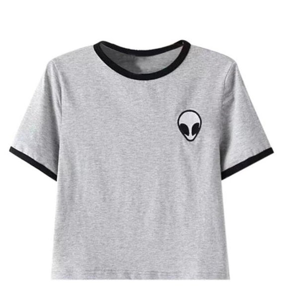 summer Sexy Women t shirt Cotton Printing 3d Loose Short Sleeve Crop Tops Female T-Shirts Alien T-shirt l ady blusas clothing
