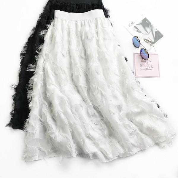 2018 jupes en mousseline de soie pompon plume buste jupe de taille haute han édition de la femme longue posée la jupe a-joker joker