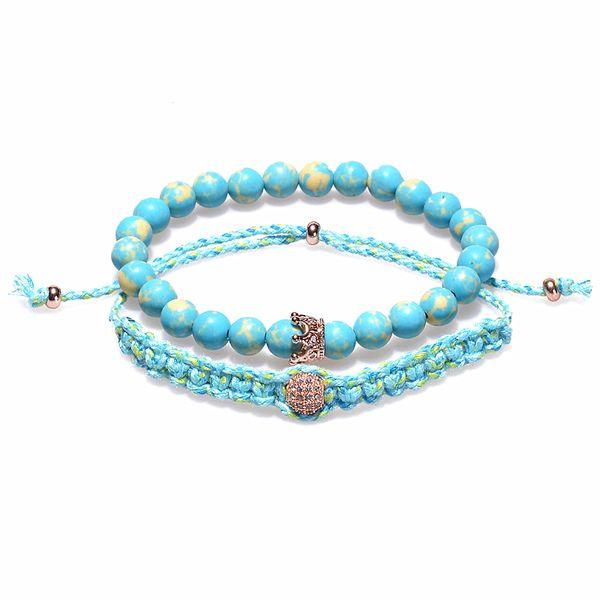 2019 Charm Bracelets Women Diy Handmade Cotton Rope Braided Bracelet Friendship 8mm Blue Stone Beads Bracelets Bracciali From Lynn769112449 6 2