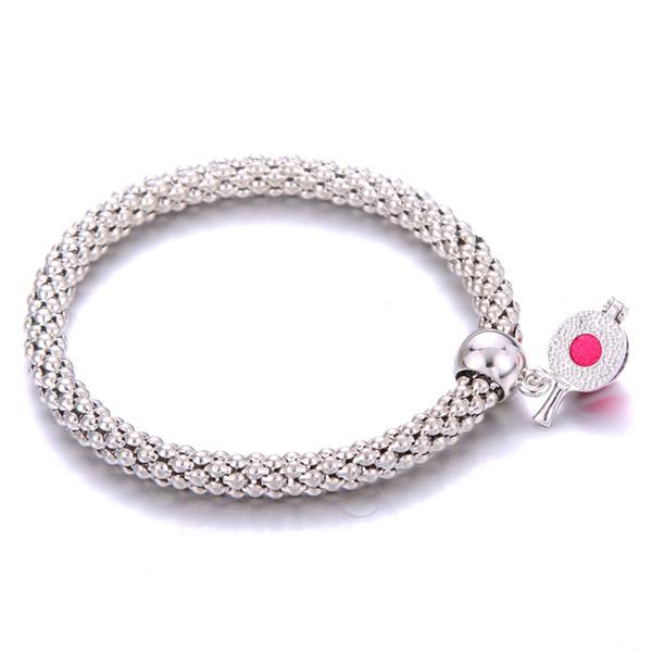 Table tennis racket Pendant Bracelet Bangle Essential Oil Diffuser Perfume Aromatherapy Corn chain Bracelet girl Locket gift