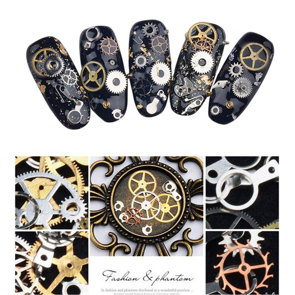 Sliders for nail 1 Box Metal Gear Stud Sheet Mixed Steampunk Nail Art Decoration stencil for transfer foil nails 0927