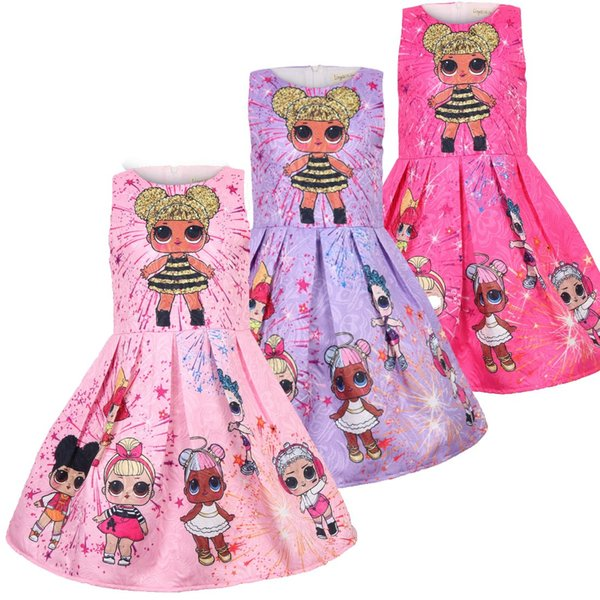 3 color baby Girls Dresses Sleeveless Fashion Girl Cartoon Princess Doll Printed Dresses cotton ins Dresses Kids Baby Clothing B11