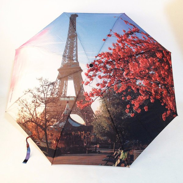 3 Folding Fashion Automatic Umbrella Paris Tower Oil Painting Umbrellas/ Anti-UV Sun/Rain Umbrella Parasol SunshadeParasol Gift