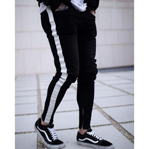 Autumn Fashion Hip Hop Mens Slim Fit Skinny Designer Black Pants Jeans for Men Size S-3XL