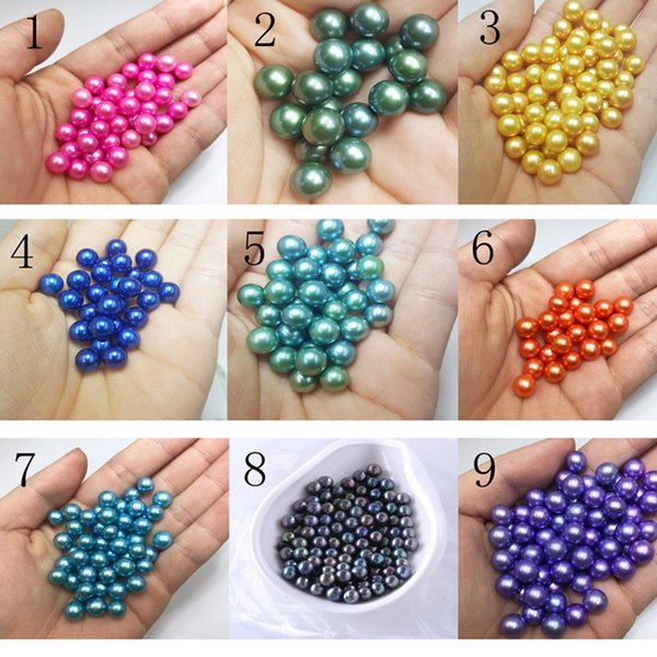 Non-fading pearl Round Oyster Pearl 6-8mm 2018 new Mix color big Fresh water Gift DIY Natural Pearl Loose beads Decorations Vacuum Packaging