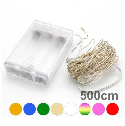 5M 50LED 3XAA battery LED string lights for Xmas garland party wedding decoration christmas flasher fairy lights